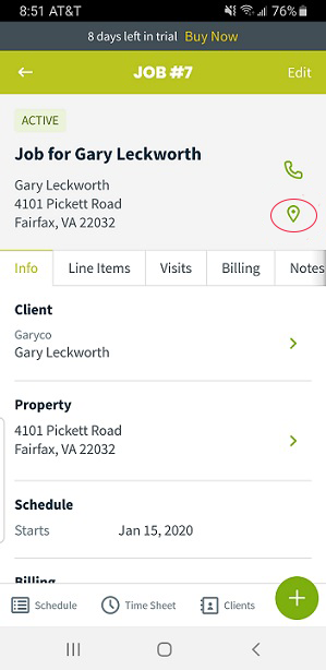 Jobber mobile job screen with details about the client and ability to navigate to the site via google maps (icon circled in red).
