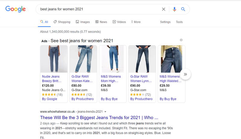 The results of a Google Search for the phrase best jeans for women 2021.