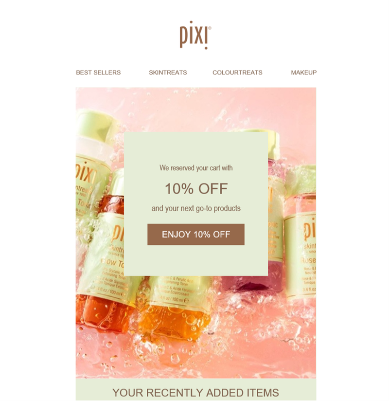 A cart abandonment email from Pixi with a 10% discount code.