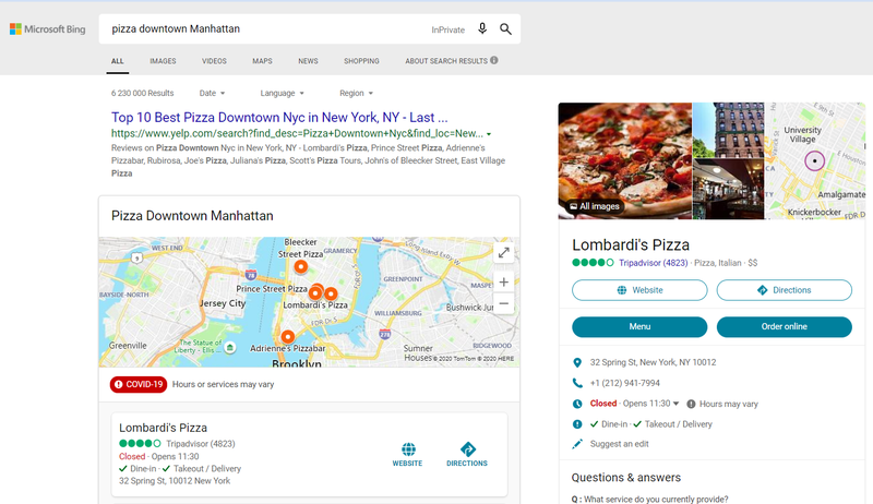 Screenshot of a Bing search results page showing local results via Tripadvisor.