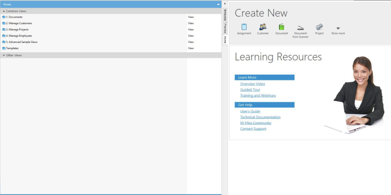 The main navigation window with optional learning resources.