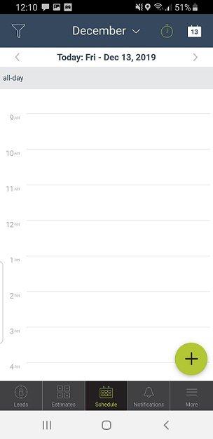 mHelpDesk mobile view of a technician's calendar.