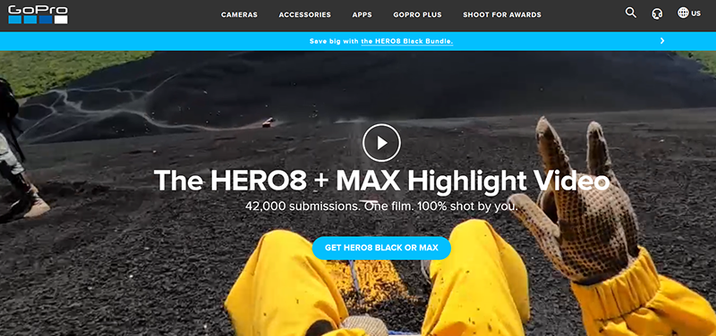 Screenshot of GoPro's landing page promoting the Hero8 and Max.