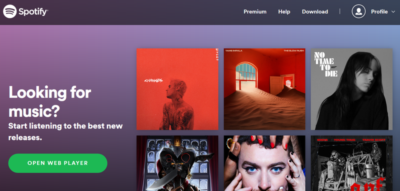 Screenshot of Spotify's landing page promoting different musical artists.
