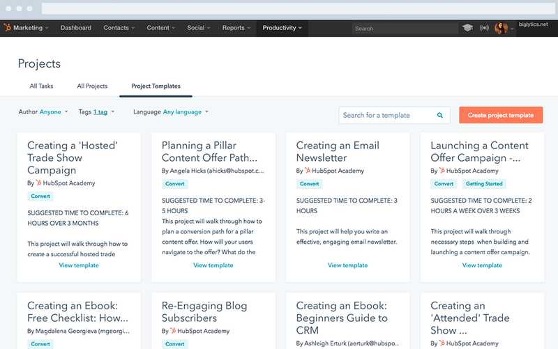 HubSpot Marketing Hub's project template page with different project types to choose from.