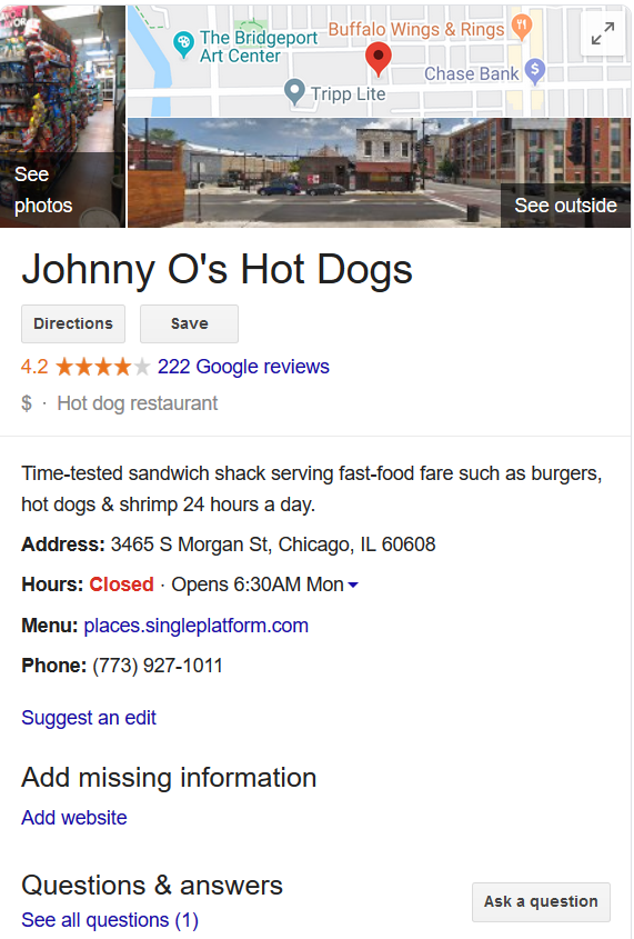 Example of a Google My Business profile snippet from a search result showing hours, contact information, location, etc.