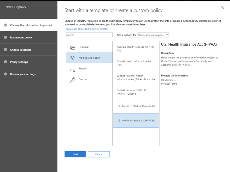 Screenshot of Microsoft SharePoint's security policy creation function with custom policy template
