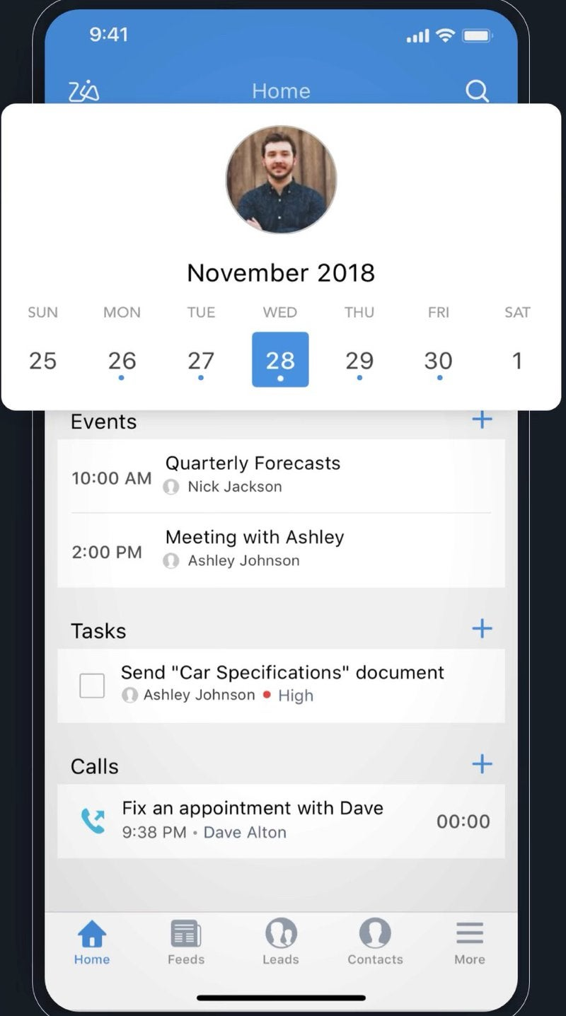 A calendar appointment view in the Zoho CRM app.