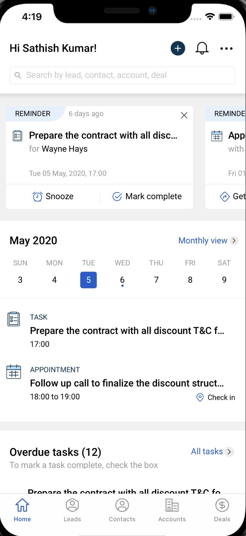 A view of the home screen on the Freshworks app with tasks and calendar reminders.