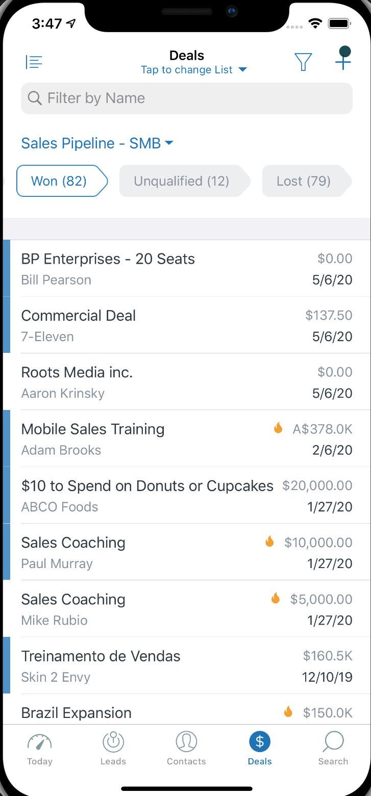The Zendesk app screen showing a list of deals in the pipeline.