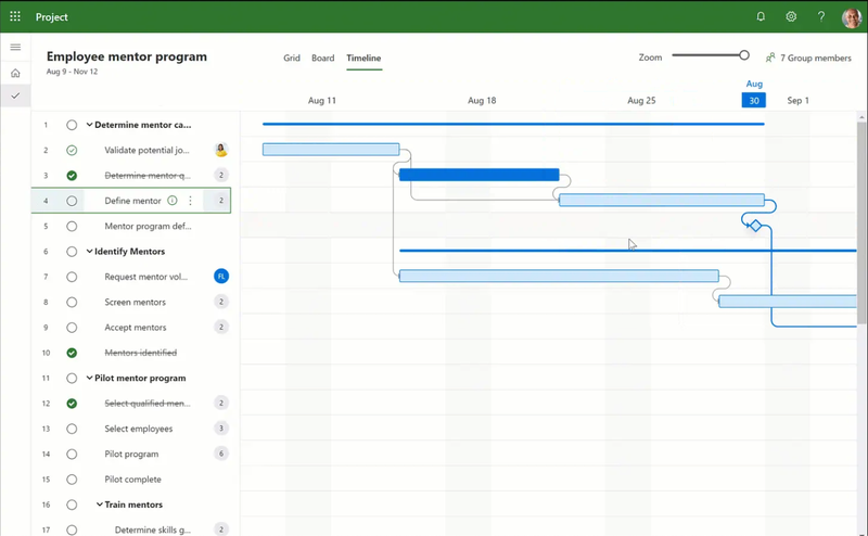 Project tracking screen in Microsoft Project