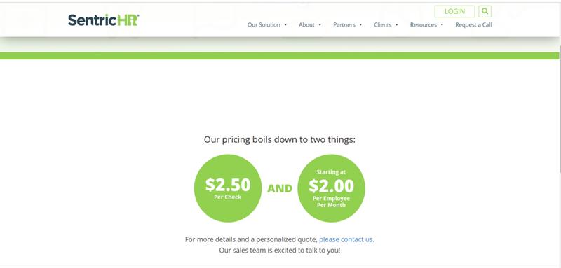 A screenshot of SentricHR's pricing.