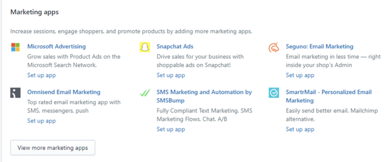A screenshot of Shopify's marketing integrations for online shops.