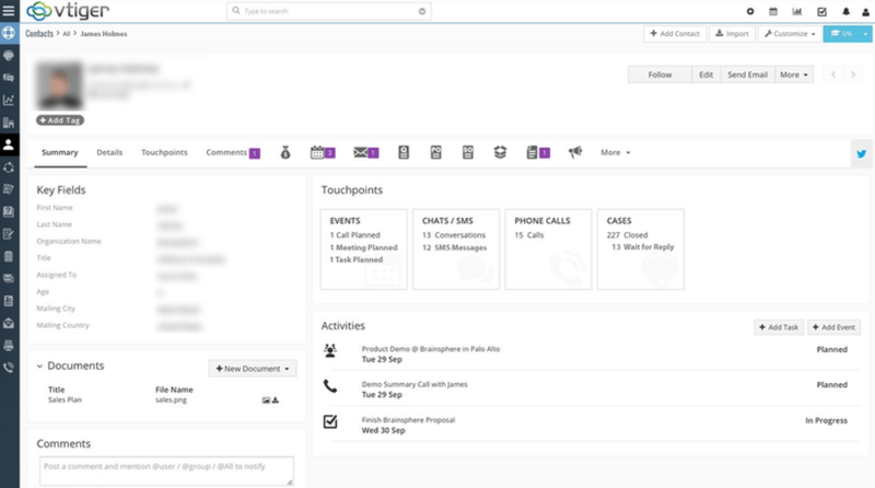 The Vtiger Sales CRM dashboard showing customer information.