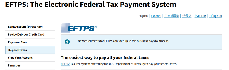 A screenshot of the IRS EFTPS webpage.