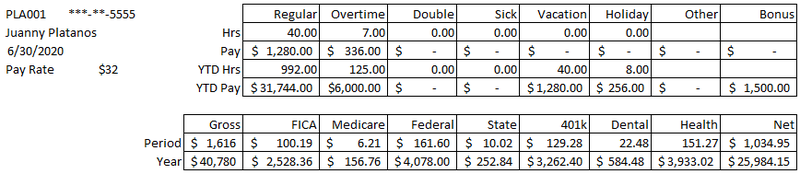 A sample employee on a payroll register showing gross to net pay.