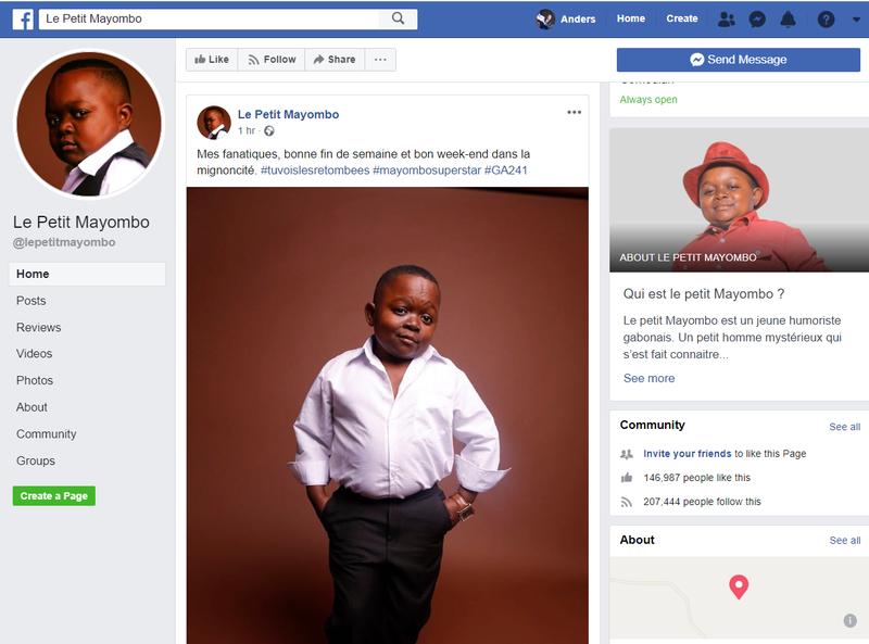"Facebook page screenshot of influencer ""Le Petit Mayombo."""