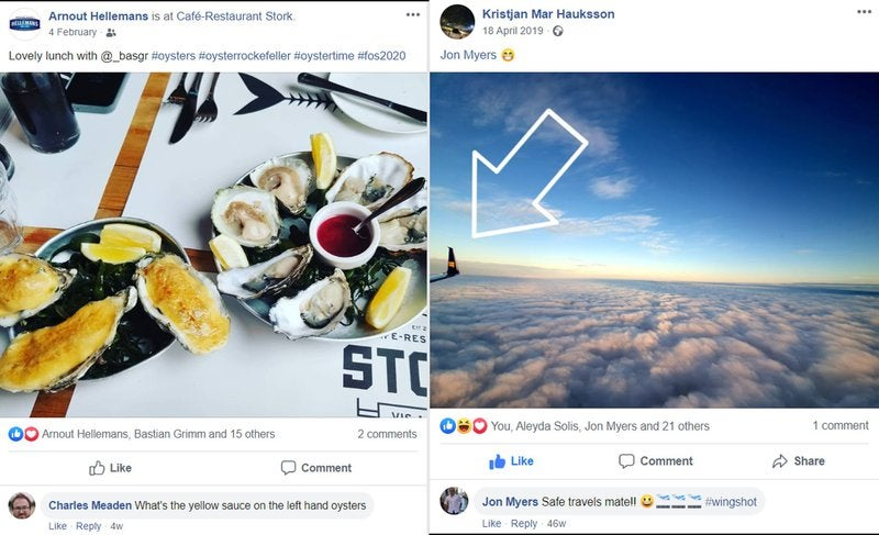 Facebook posts showcasing oysters and the wing of a plane for personal brand promotion.