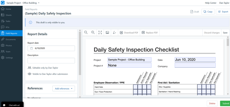 PlanGrid's safety inspection checklist