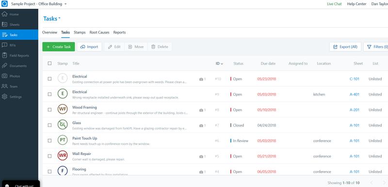 Screenshot of PlanGrid's task manager