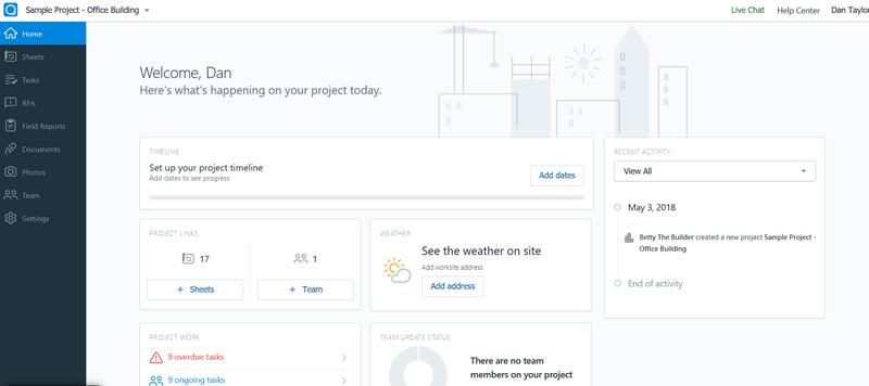 Screenshot of PlanGrid's dashboard