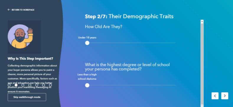 HubSpot's Make My Persona tool