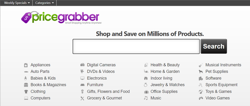 A screenshot of the PriceGrabber price comparison site.