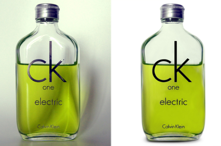 Image with Calvin Klein cologne including the shadows and the image with the shadows edited out.