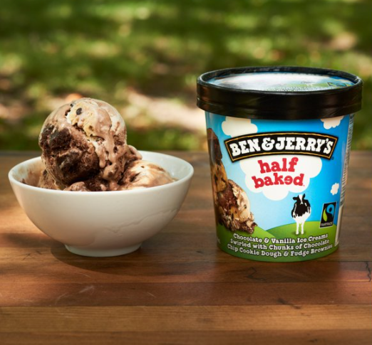 Photo of a bowl of Ben and Jerry's ice cream along with a container of the ice cream.