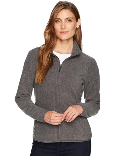 A frontal image of a women's fleece jacket.