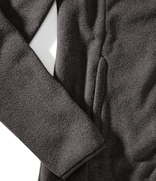 A photograph of the sleeve and pocket stitching on a women's fleece jacket.