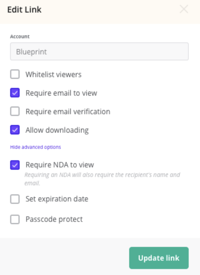 Screenshot of DocSend permissions functionality.