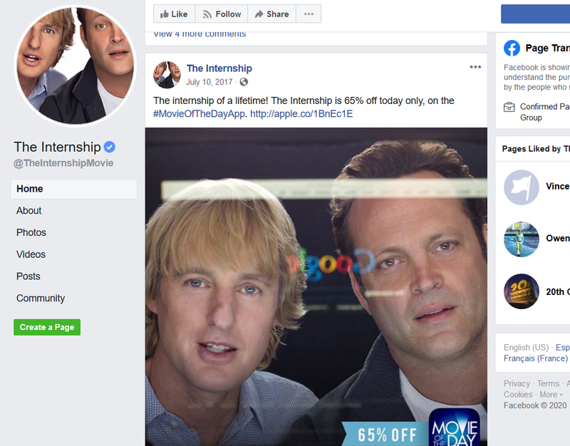 The Internship's movie official Facebook page.