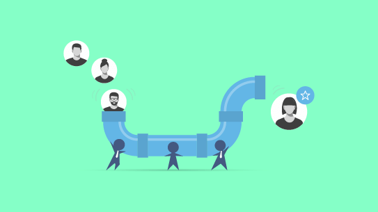 An animated pipeline with pictures of candidates being fed in one end and coming out the other.