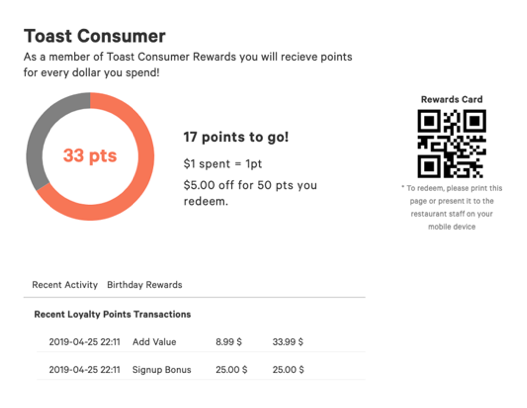 Sample image of the Toast rewards program showing how many points one has, past transactions, and a QR code for redeeming points.