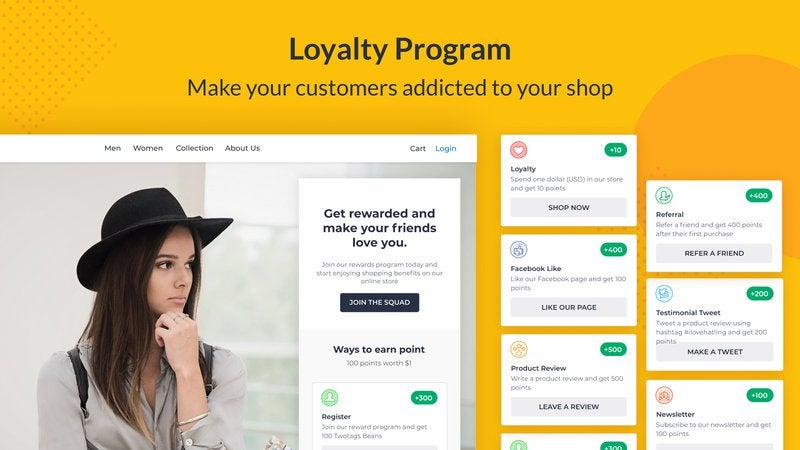 Marketing app for WooCommerce featuring tools to promote a brand using the plug-in.