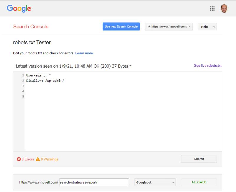 Screenshot from the robots.txt checker.