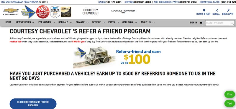 Screenshot of a Phoenix car dealership customers incentive program.