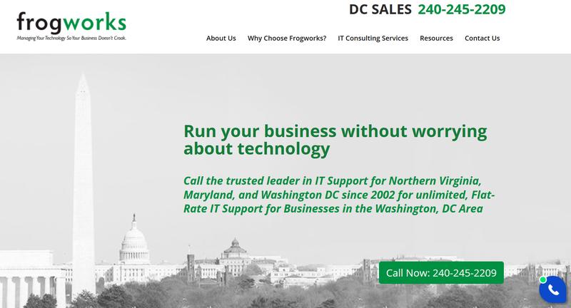 A screenshot of a D.C. IT firm landing page.