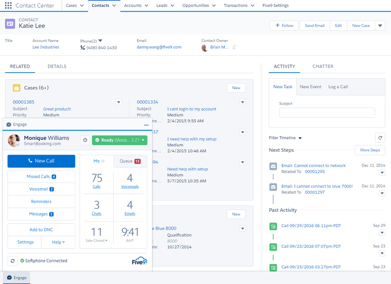 Salesforce CRM contact page with detailed information and a popup window to handle phone calls within the application.