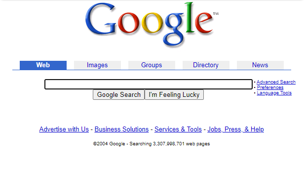 A screenshot of a 2004 Google search page from the Wayback Machine.