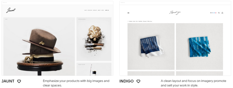 The Squarespace Commerce theme templates showcasing products for online stores.