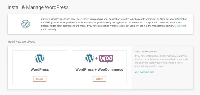 WordPress integration to SiteGround for managing your site.