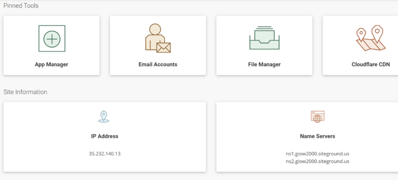 SiteGround's admin dashboard for site management.