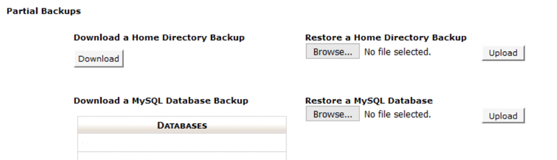 SiteGround's section for backing up your website.