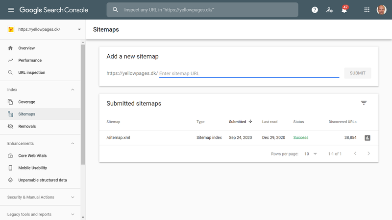 Screenshot from the Sitemaps page of Google Search Console showing submitted sitemaps, if there are any.