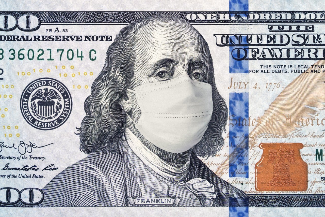 A hundred-dollar bill with Benjamin Franklin wearing a face mask.