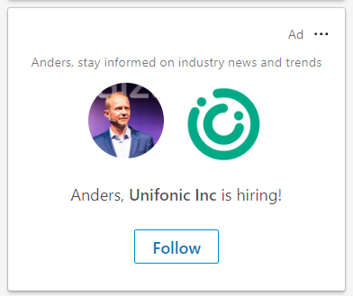 LinkedIn ad with profile owner's photo