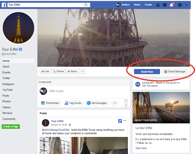 Eiffel Tower's Facebook page