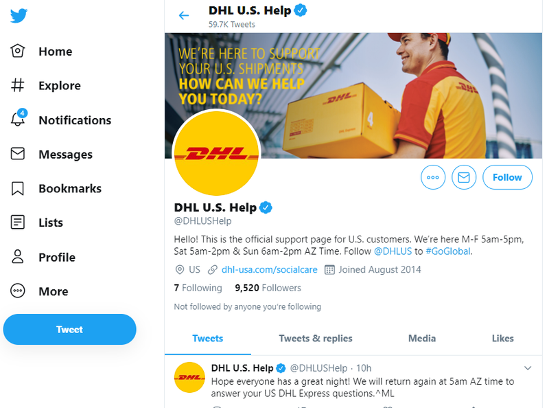 DHL's Twitter account